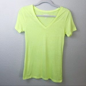 Old Navy neon yellow Vintage v-neck tee shirt